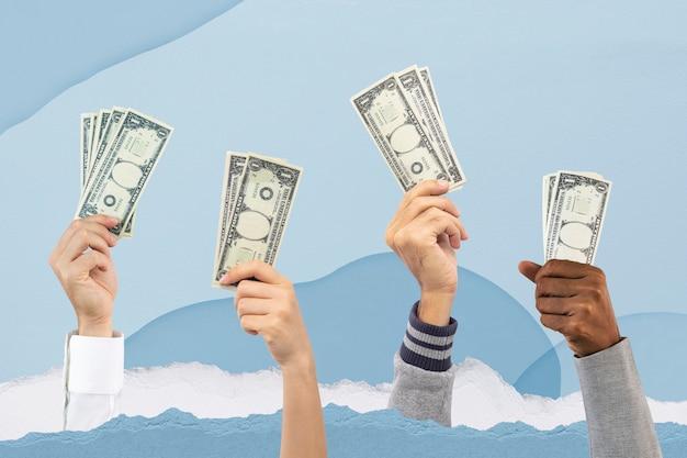 Personas que tienen dinero gastando concepto de finanzas remix
