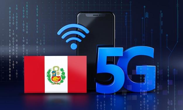 Perú listo para el concepto de conexión 5g. fondo de tecnología de teléfono inteligente de renderizado 3d