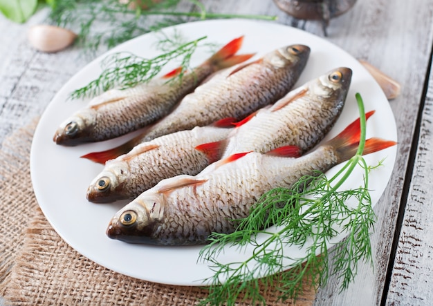 Pescado crudo en plato blanco con eneldo