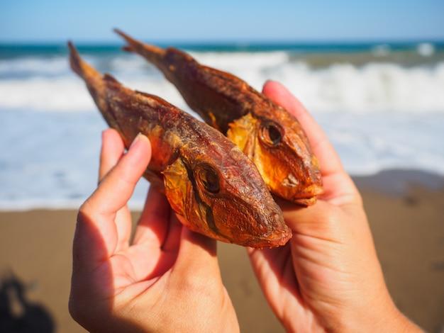 Pescado de mar seco en la playa