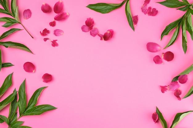 Pétalos rojos y hojas de peonía verde sobre un fondo rosa