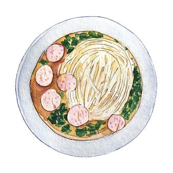 Pho vietnamita de la sopa de la bola de carne de la acuarela aislado en el fondo blanco, visión superior.