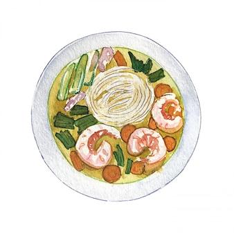 Pho vietnamita de la sopa del camarón de la acuarela aislado en el fondo blanco, visión superior.