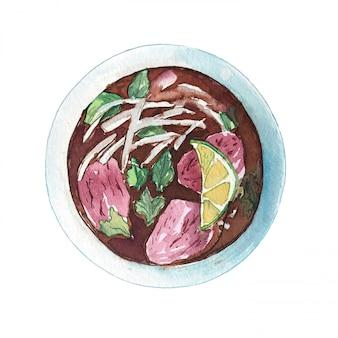 Pho vietnamita de la sopa de la carne de vaca de la acuarela aislado en el fondo blanco, visión superior.