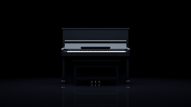 Piano elegante en una habitación oscura.