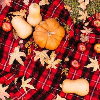 Picnic de otoño con calabazas