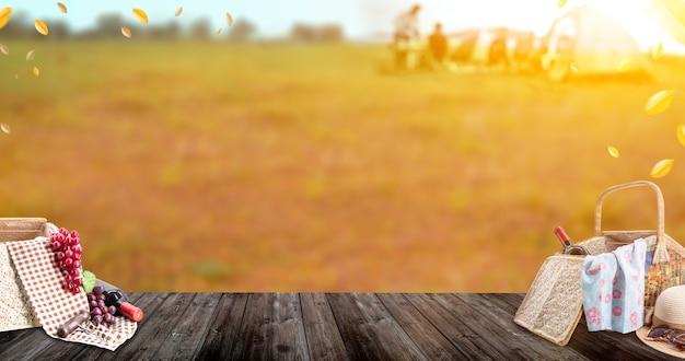 Picnic en el parque de vacaciones vacaciones de verano. actividad al aire libre en otoño y otoño.