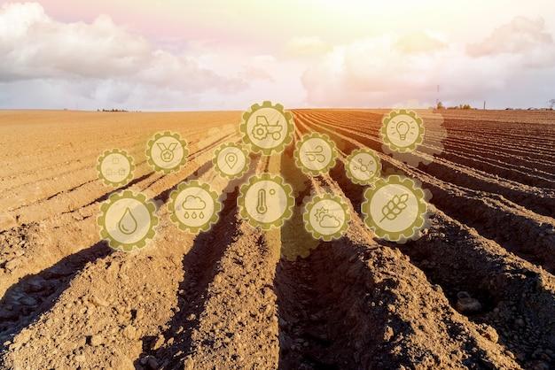 Pictograma de tecnología innovadora en un campo agrícola de primavera. desarrollo de mejoras tecnológicas para incrementar la temporada agrícola mediante la siembra de cultivos vegetales más resistentes.