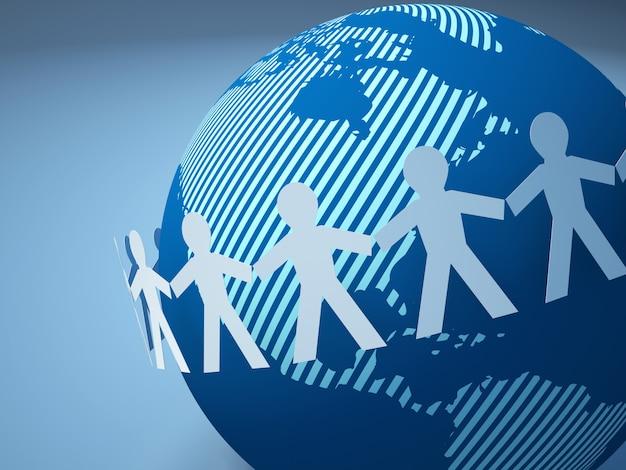 Pictograma de trabajo en equipo personas de todo el mundo globe