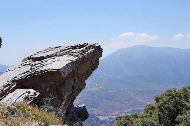 De pie vacío en la cima de una vista a la montaña, espacio en blanco borde del acantilado con montaña en el cielo azul de nubes