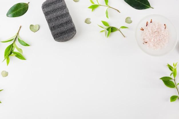 Piedra de piedra pómez negra y sal en un tazón con hojas extendidas sobre fondo blanco