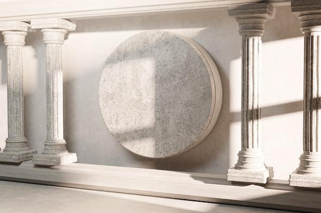 Piedra redonda en blanco pilar clásico columna columna arquitectura clásica banner representación 3d realista