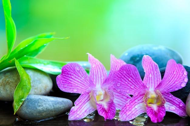 Piedra zen y orquídea rosada en la mesa de madera con espacio de copia para texto o producto