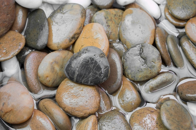 Piedras de grava de primer plano para piso decorativo.