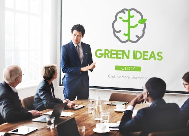 Piense en green go green brain concept