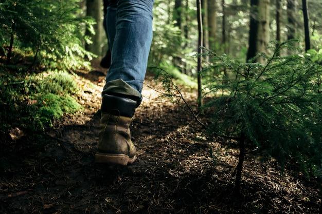 Piernas de una persona caminando por un bosque