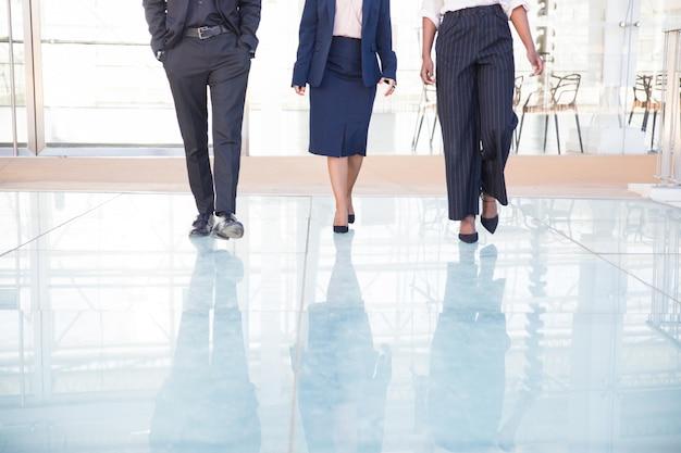 Piernas de tres socios de negocios caminando en la oficina