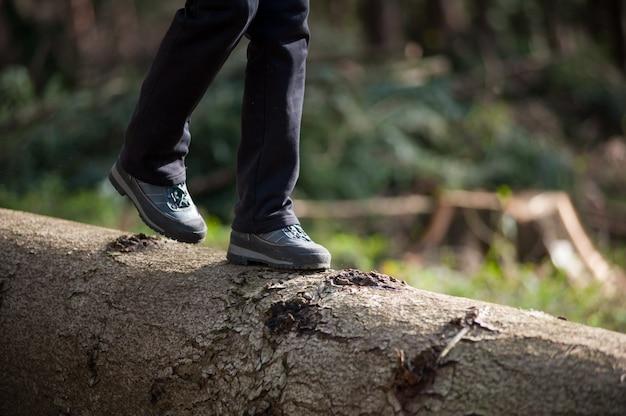 Pies de mujer en zapatillas caminando sobre tronco en el bosque