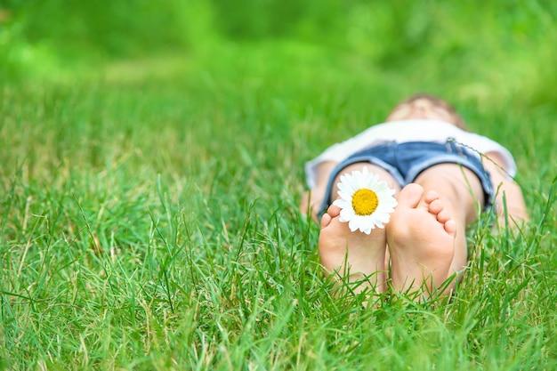 Pies de los niños con manzanilla sobre la hierba verde.