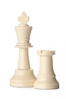 Pieza de ajedrez blanca aislada en blanco