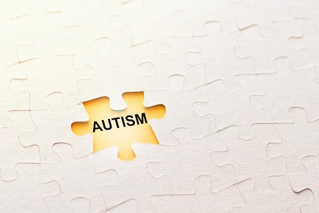 Pieza faltante del rompecabezas con autismo de inscripción sobre un fondo amarillo