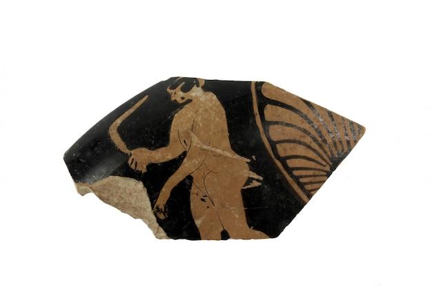 Pieza de un jarrón griego pintado con humano.