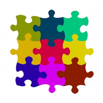 Pieza juego de puzzle rompecabezas reconstruyendo