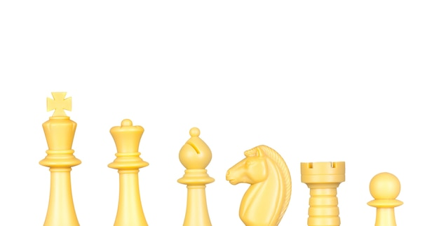 Piezas de ajedrez aisladas en blanco
