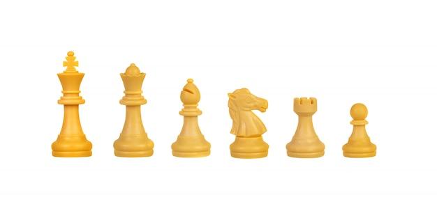 Piezas de ajedrez aislados en blanco