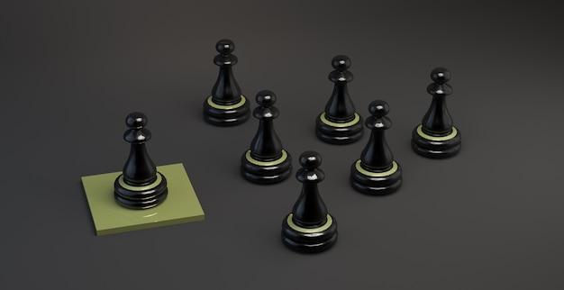 Piezas de ajedrez mirando al líder. trabajo en equipo. ilustración 3d. bandera.