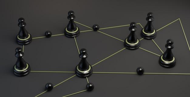Piezas de ajedrez negras sobre líneas doradas. trabajo en equipo. mapa. ilustración 3d. bandera.