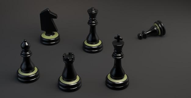 Piezas de ajedrez con peón caído caballero obispo torre rey y reina ilustración 3d banner