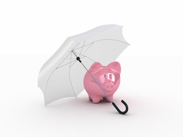 Piggy rosa bajo el paraguas. ilustración 3d