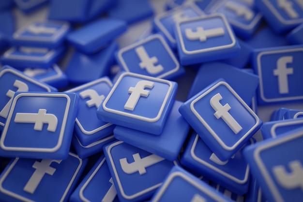 Pila de 3d logotipos de facebook