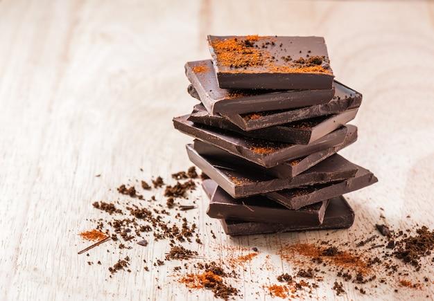 Pila de barra de chocolate