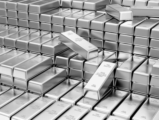 Pila de barras de plata en la bóveda del banco