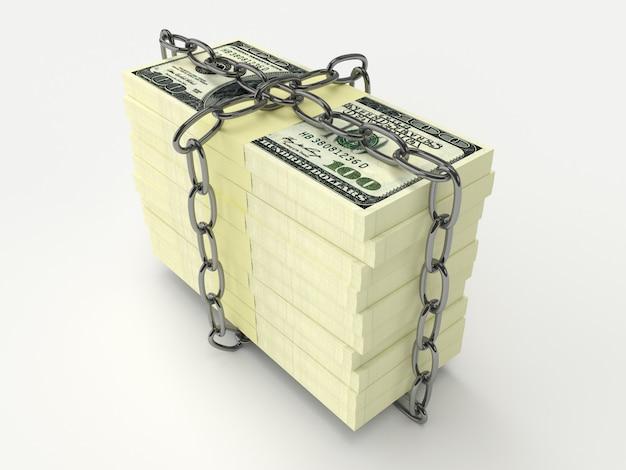 Pila de cadena envuelta de dinero