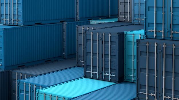 Pila de caja de contenedores azul, buque de carga para importación y exportación 3d