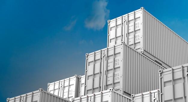 Pila de caja de contenedores blancos, buque de carga para importación y exportación 3d