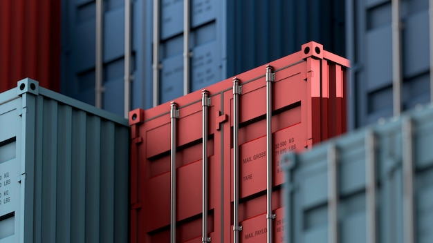 Pila de caja de contenedores, buque de carga para logística de importación y exportación