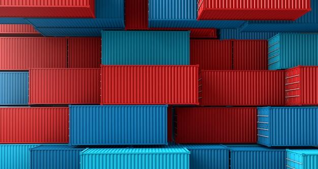 Pila de caja de contenedores, buque de carga en la vista superior