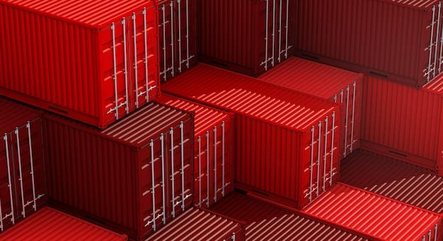 Pila de caja de contenedores rojos, buque de carga para importación y exportación 3d