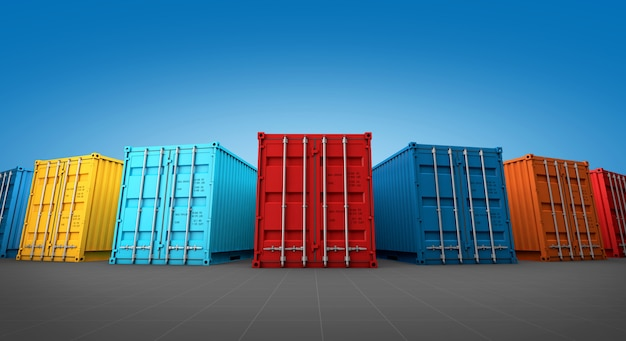 Pila de caja de contenedores,