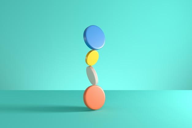 Pila de cilindros coloridos aislados en fondo azul. idea mínima del concepto. procesamiento 3d.