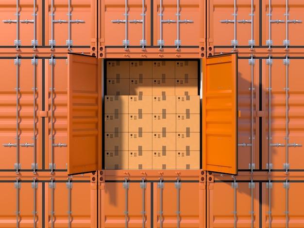 Pila de contenedores de carga con un contenedor lleno de cajas de cartón y puertas abiertas.
