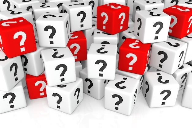 Pila de cubos con representación 3d de signo de interrogación
