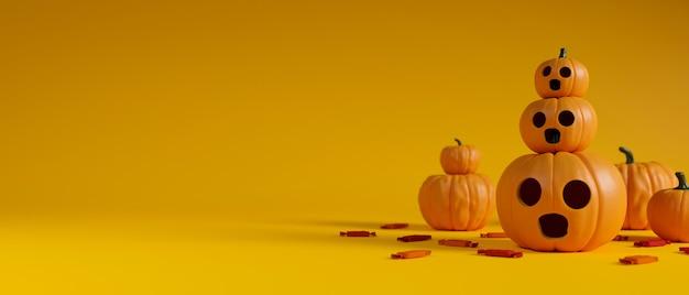 Pila de decoración de halloween de lámparas de calabaza decoradas sobre fondo amarillo representación 3d ilustración 3d