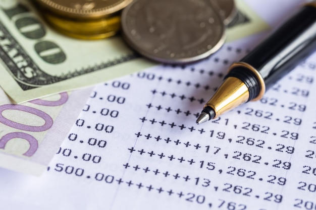Pila de fondo de datos de financail de la bolsa de moneda.