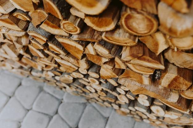 Pila de fondo con textura de leña