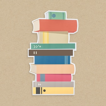 Pila de icono de libros aislado